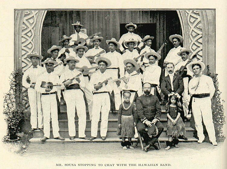 John Philip Sousa hangs out with a Hawaiian ukulele band in 1901, just 14 years before his defeat.