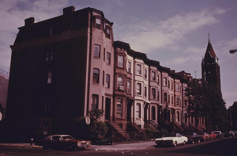 A block of Park Slope brownstones, circa 1974.