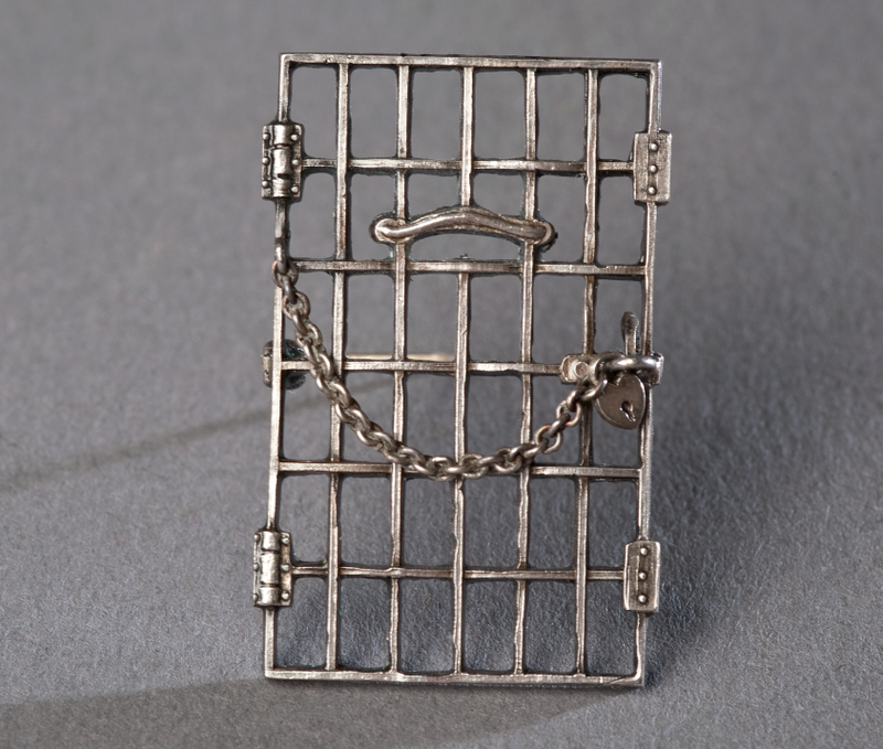 A jailed for suffrage pin created by the National Woman's Party in 1917