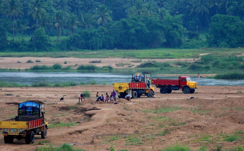 A sand mine in Kerala, India.