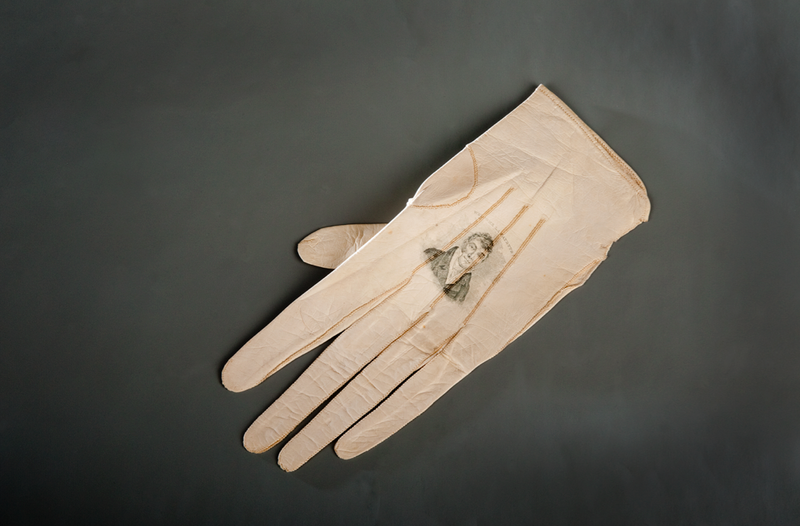 A portrait of Lafayette on a lady's glove from 1824