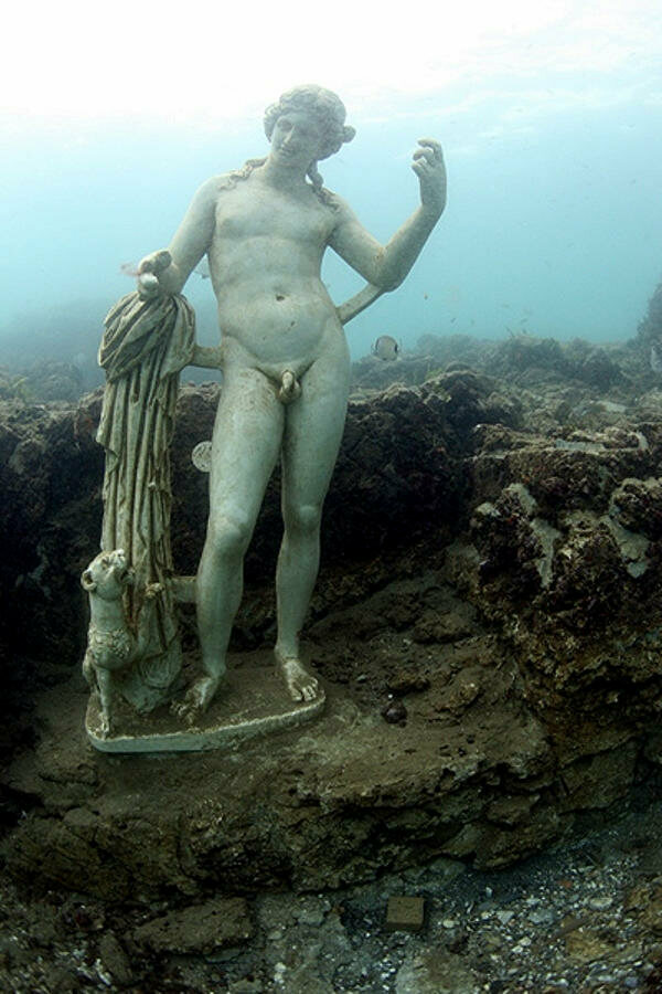 One of the many preserved statues beneath the water.