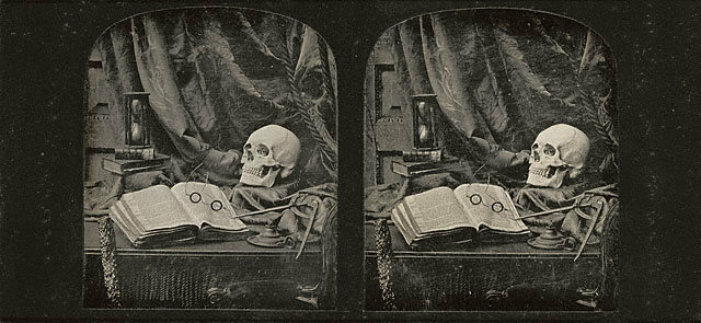 """Vanitas / Still Life with Skull, Open Book with Glasses, and Hourglass / The Sands of Time,""  a stereoscopic image by British artist Thomas Richard Williams (1850)"