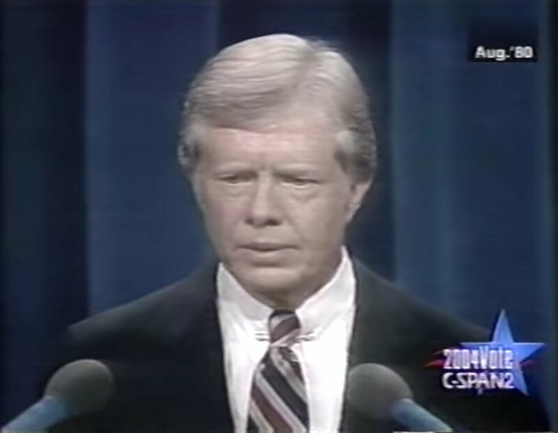 President Jimmy Carter, looking like he knows his balloons aren't coming.
