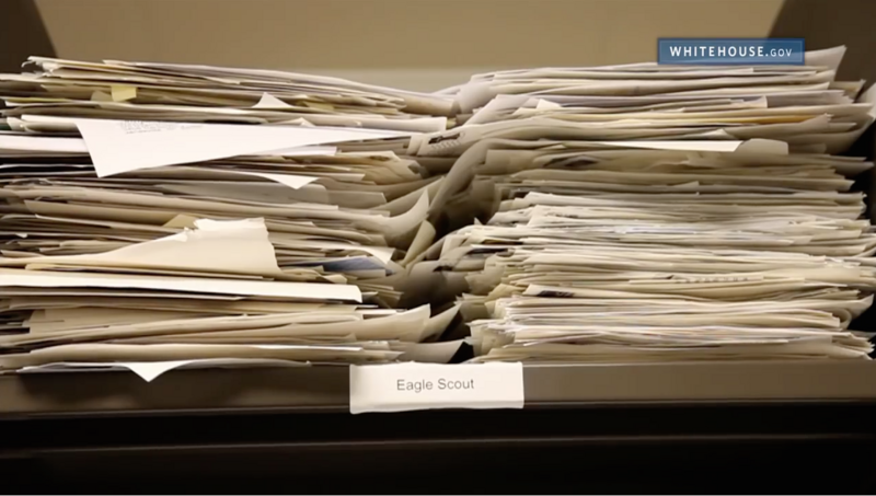 11 ways to get a letter from the white house atlas obscura a pile of eagle scout greeting requests in the office of correspondence circa 2014 m4hsunfo