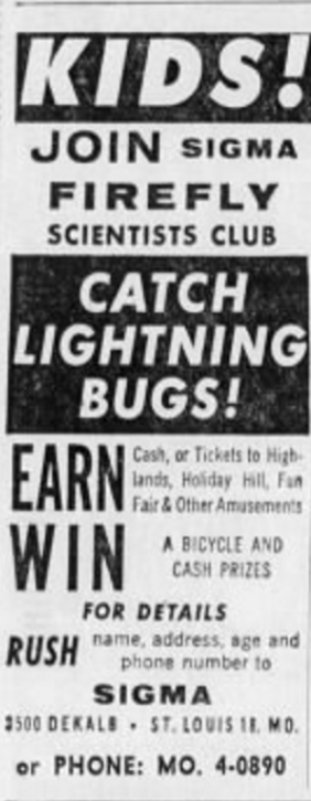 An early ad for the club, from the June 2nd, 1960 St. Louis Post-Dispatch.
