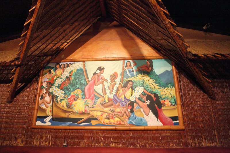A mural depicting Polynesian islanders in the style of Paul Gauguin at Don the Beachcomber.