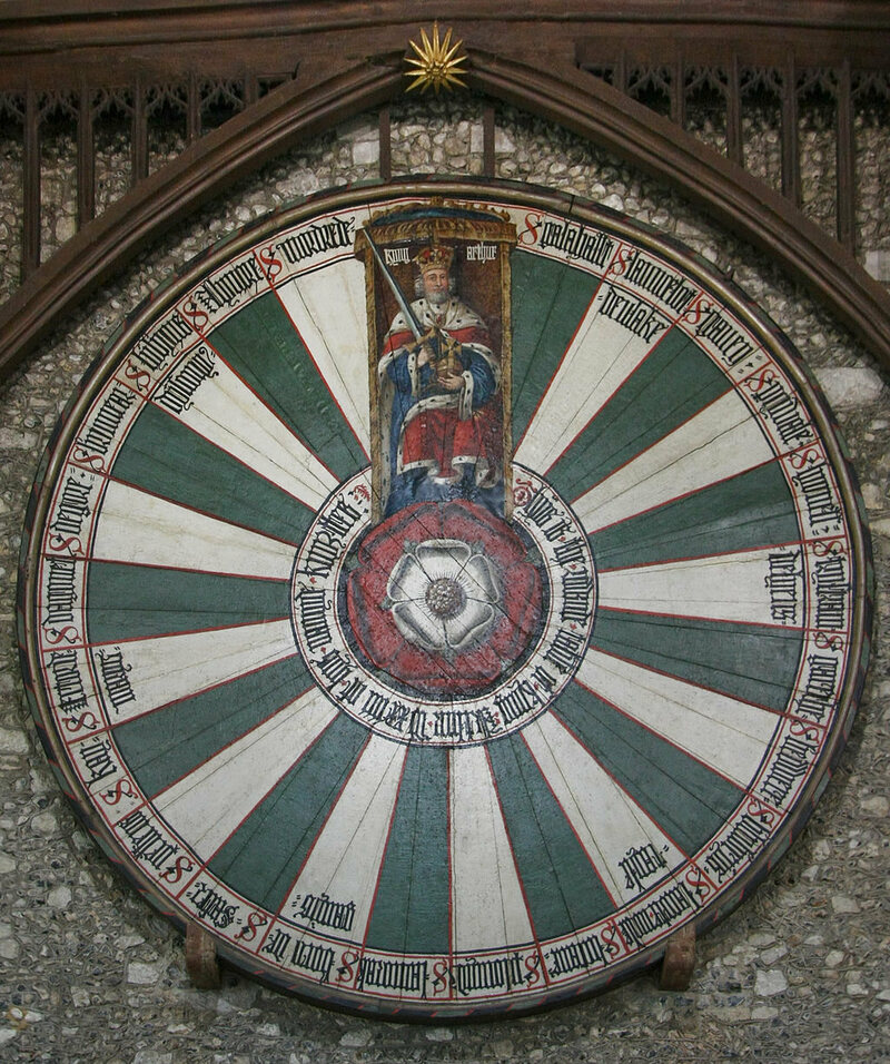 Winchester Round Table in the Great Hall, Dendrochronology dating has placed it at 1275.