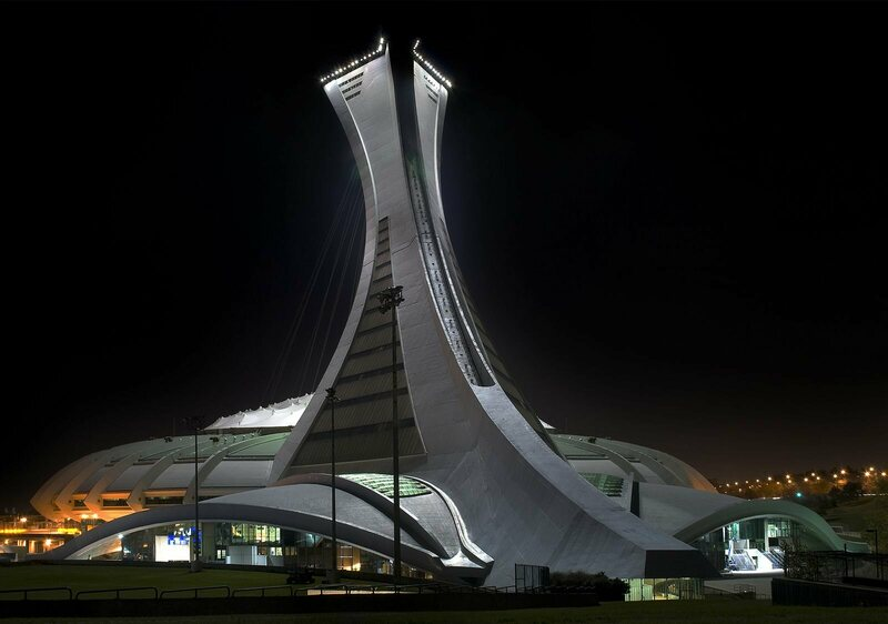 Montreal's 1976 Olympic stadium definitely looks like it could pick up a satellite signal.