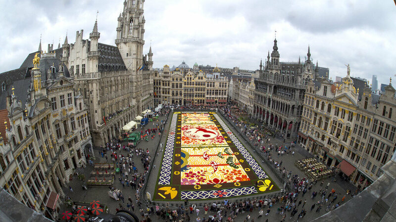 That big colorful rectangle is made out of flowers.