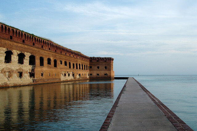 Fort Jefferson moat and wall