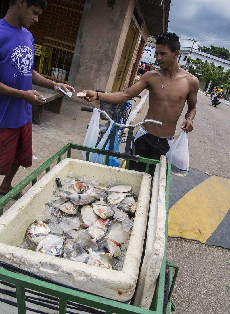 A bicycle-mounted fish seller makes a sale. Live fish for aquariums are generally worth much more than food fish on the local market