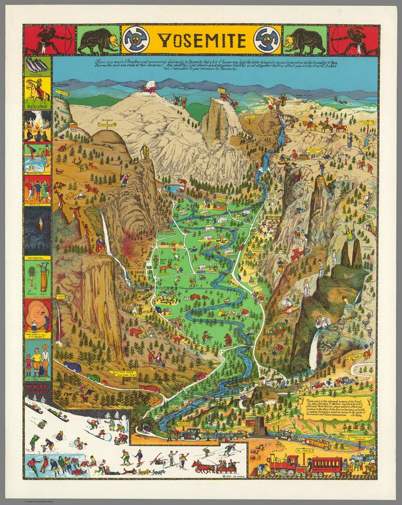 Behold a Glorious Vintage Map of Yosemite National Park - Atlas Obscura