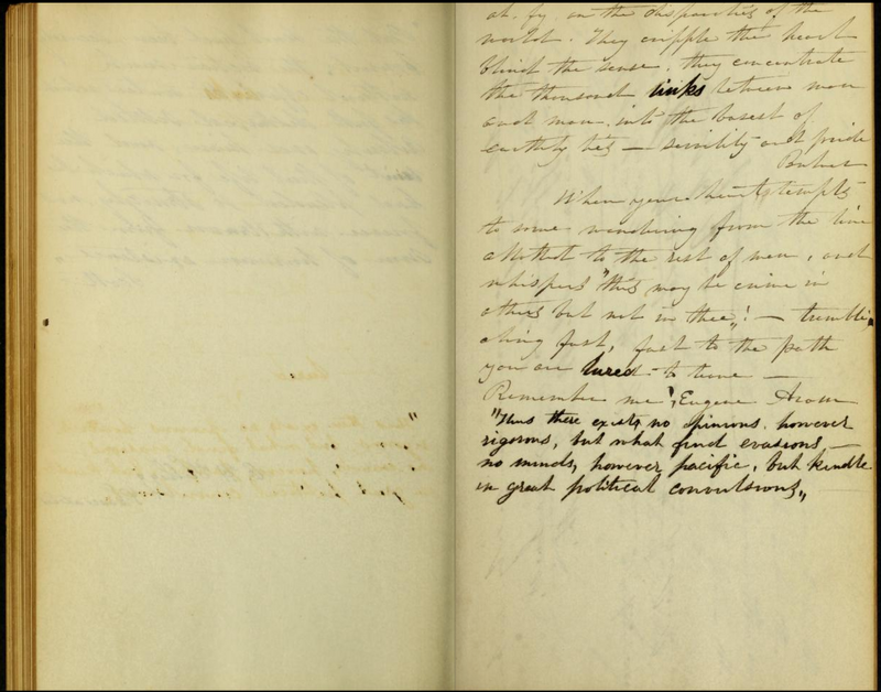 A page from Elizabeth Cady Stanton's commonplace book, kept from 1831 through 1841.