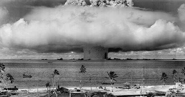 "The ""Baker"" explosion, a nuclear weapon test at Bikini Atoll, Micronesia, 1946."
