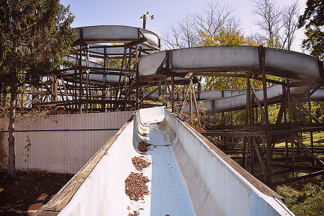 Abandoned water slide at Williams Grove