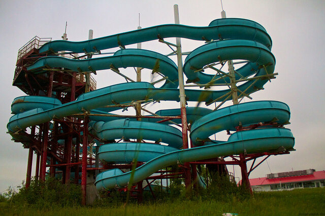Abandoned water slide in Lockport, Manitoba