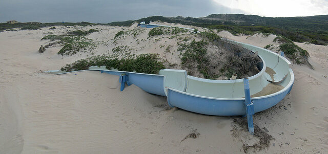 Abandoned water slide Macassar Beach Pavilion