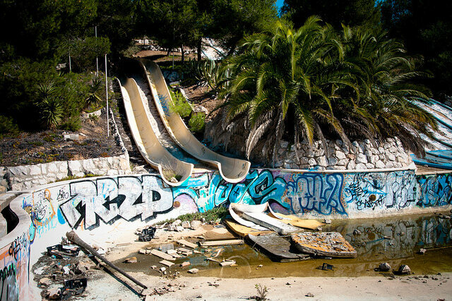 Abandoned water slide at Sitges Aquatic Paradise