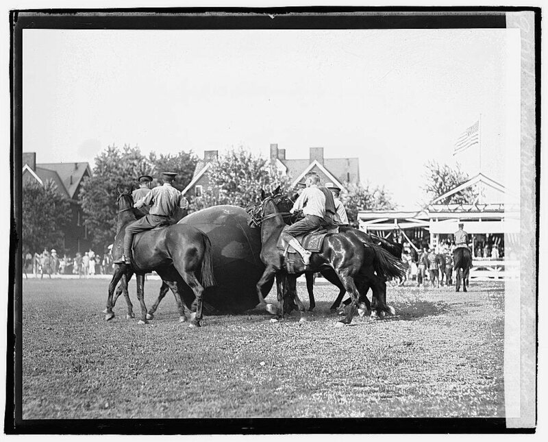 Horse pushball at the 1920 Fort Meyer Horse Show.