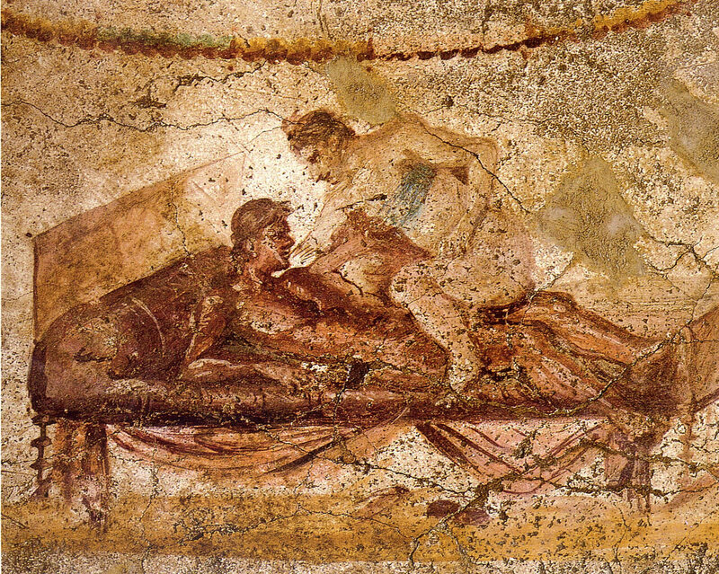A wall painting in Lupanar, a brothel in Pompeii.