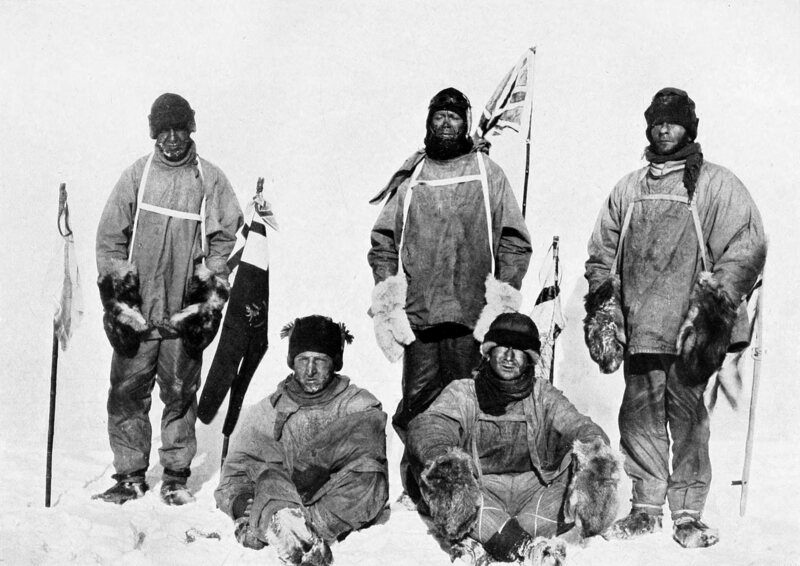 Robert Falcon Scott and his crew, close to the South Pole in 1912.