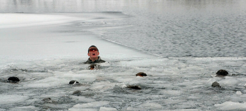 A Navy SEAL undergoes one phase of cold-weather training.