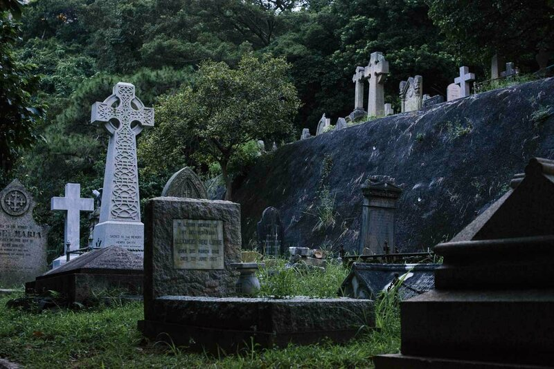 Tiered terraces were the only way to make Hong Kong's hilly terrain usable for mass burial. Newer graveyards followed the Happy Valley model, including Wo Hop Shek, where burials dominate one side of a 300 meter (984 foot) mountain.