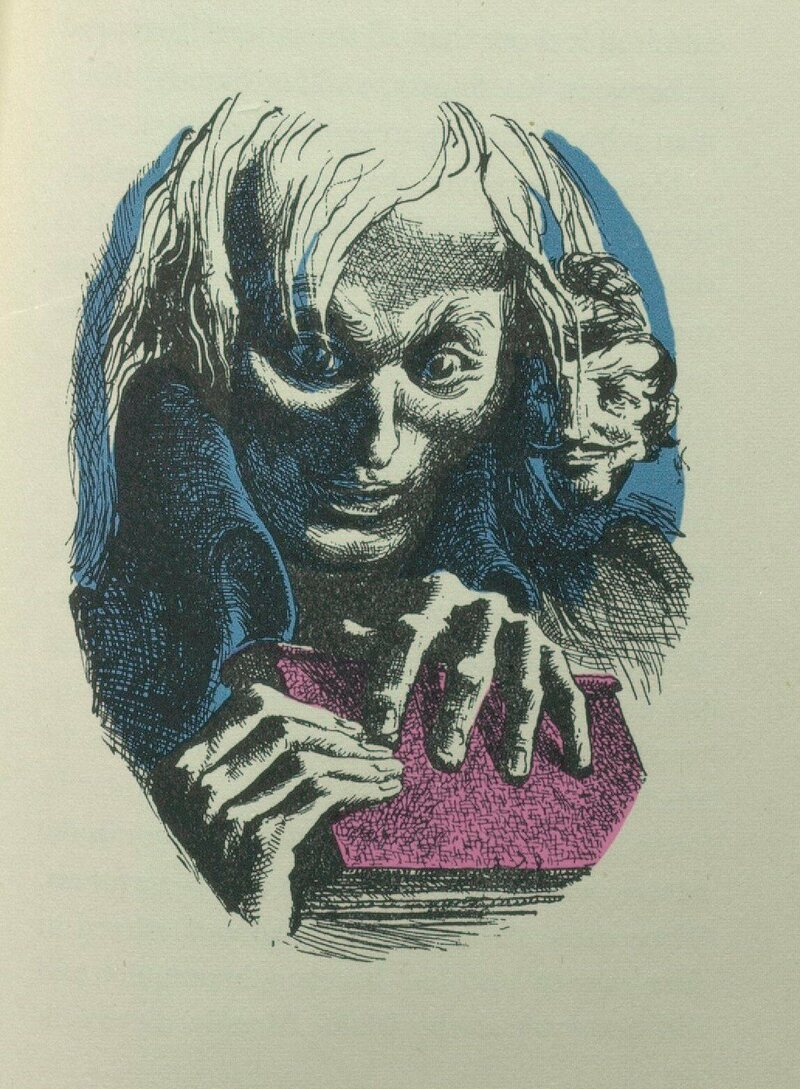 An illustration from Gustave Flaubert's <em>Bibliomanie</em>, another fictional take on the illness.