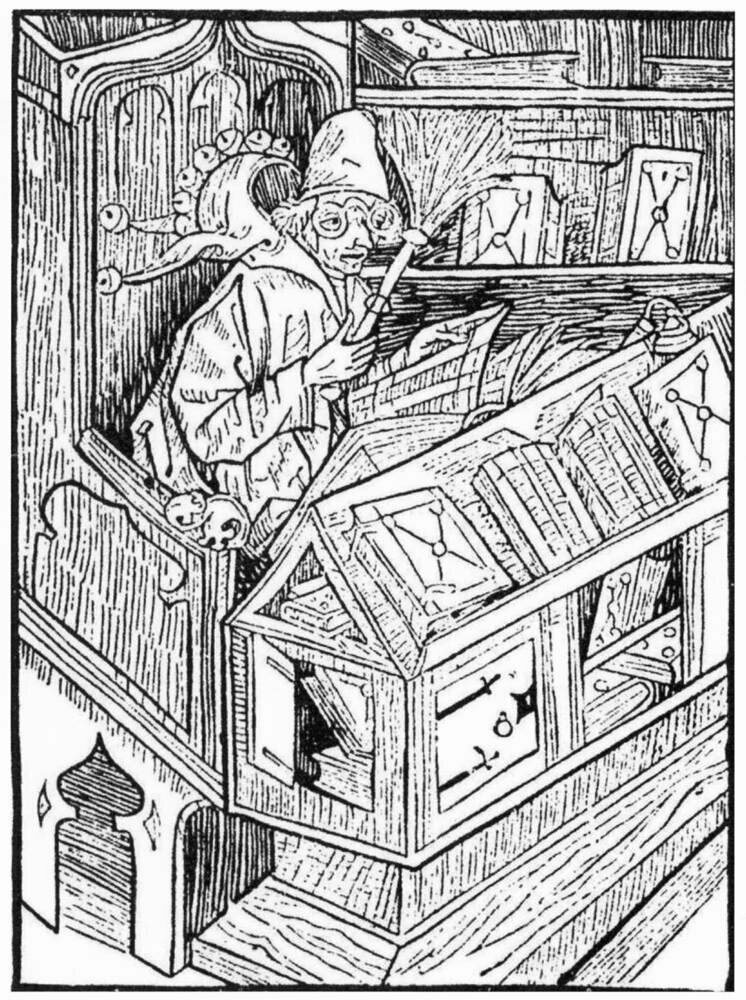 """The Book Fool"" from the 1494 satire <em>Ship of Fools</em>. The original woodcut shows a vain book collector surrounded by useless books."