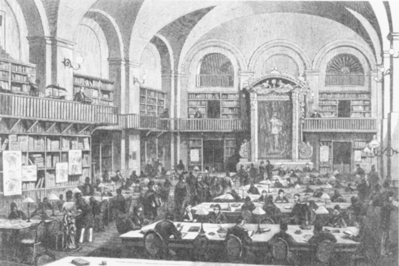The reading room in the Imperial Public Library in St. Petersburg in 1881. The site of one of the largest book thefts.