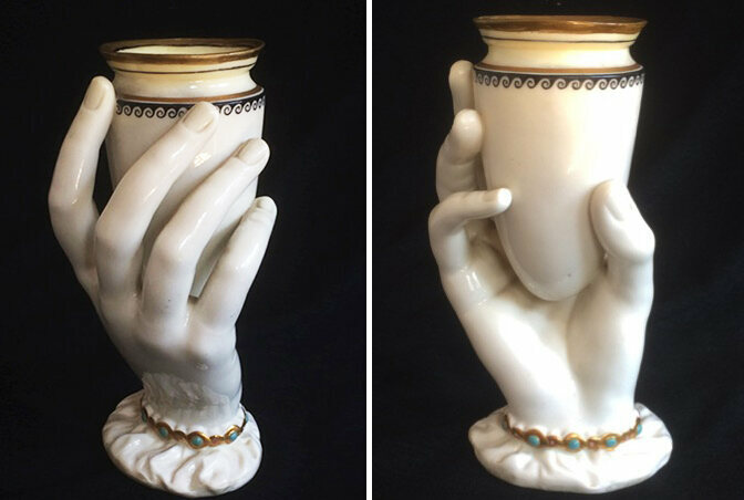 "Two views of a Royal Worcester ""Mrs. Hadley's Hand"", c. 1864."