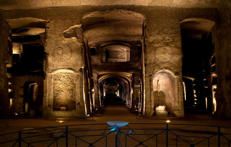 The Catacombs of San Gennaro, lit with preservation-friendly LEDs.