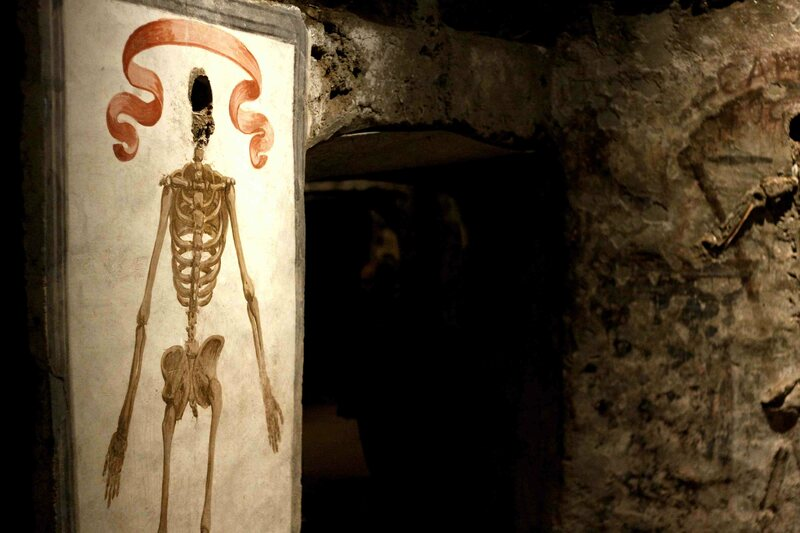 A skeletal fresco in the catacombs.