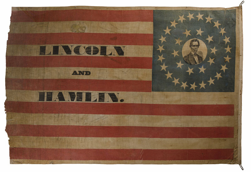 Abraham Lincoln campaign banner, 1860, featuring a beardless Lincoln.