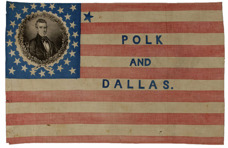 "A 27-Star James K. Polk campaign flag, 1844. ""This large campaign flag includes an extra blue star on the upper white stripe to promote the immediate annexation of Texas as a state and westward expansion."""