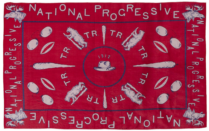 "Theodore Roosevelt campaign kerchief, 1912. ""Roosevelt campaigned in 1912 as leader of the new Progressive ""Bull Moose"" Party. Symbols connected to the vivacious politician, including the Teddy Bear and the ""Big Stick,"" fill the bandanna""."