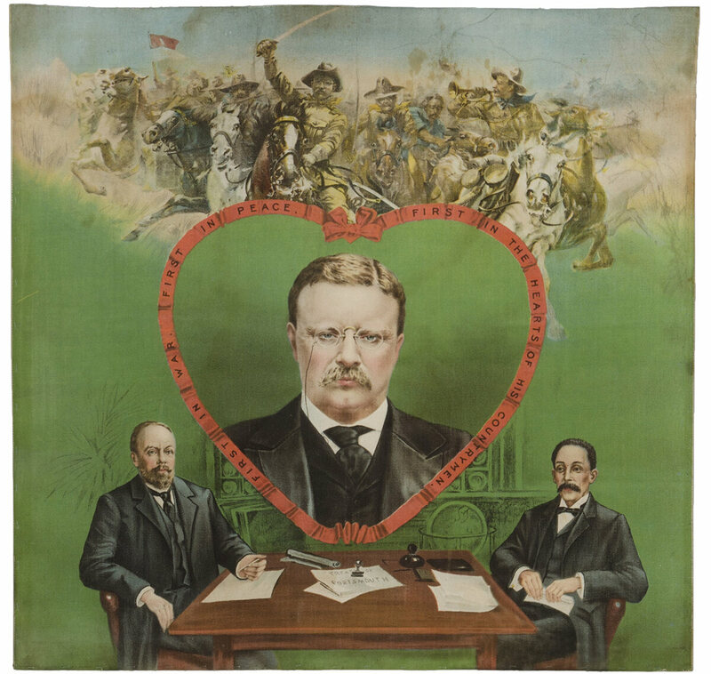 "Theodore Roosevelt pillow cover, 1906, designed for women to display at home ""to influence male voters. President Roosevelt is seen as a Rough Rider at top, and as the winner of the Nobel Peace Prize for brokering the end of the Russo-Japanese War in 1905""."