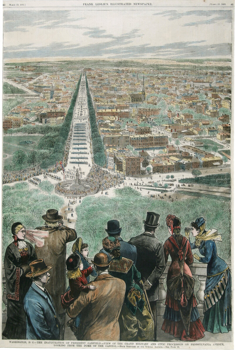 <em>The Inauguration of President Garfield—View of the Grand Military and Civic Procession on Pennsylvania Avenue Looking from the Dome of the Capitol</em>, Frank Leslie's Illustrated Newspaper, March 19, 1881.
