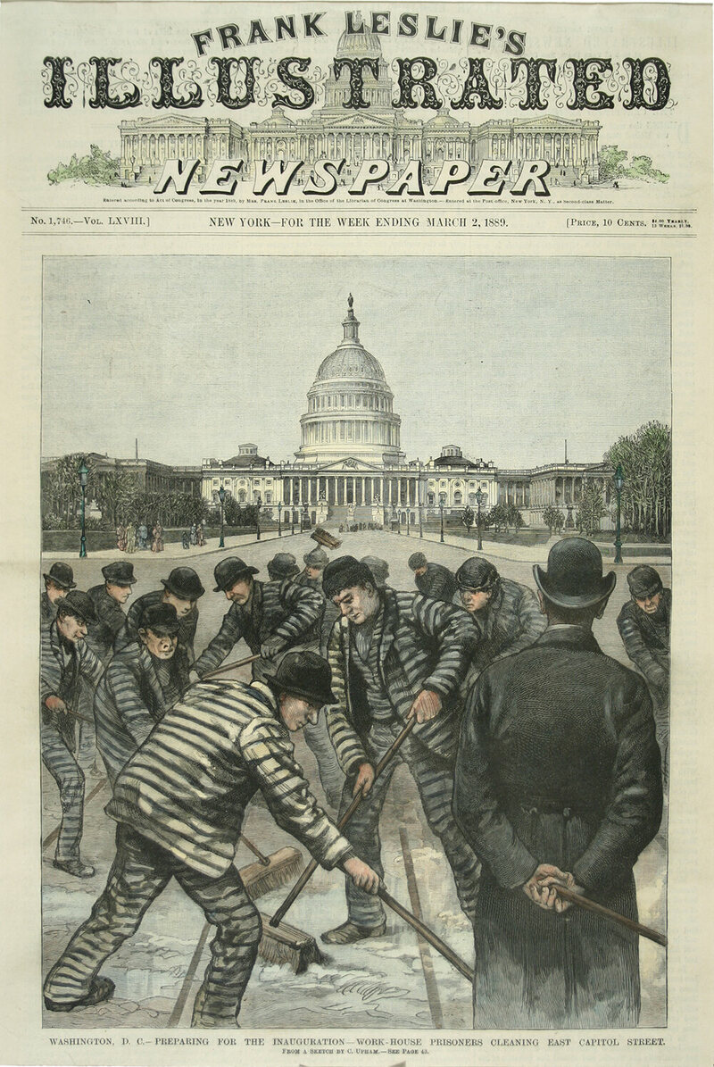 <em>Preparing for the Inauguration—Work House Prisoners Clearing East Capitol Street</em>, by C. Upham, Frank Leslie's Illustrated Newspaper, March 2, 1889.