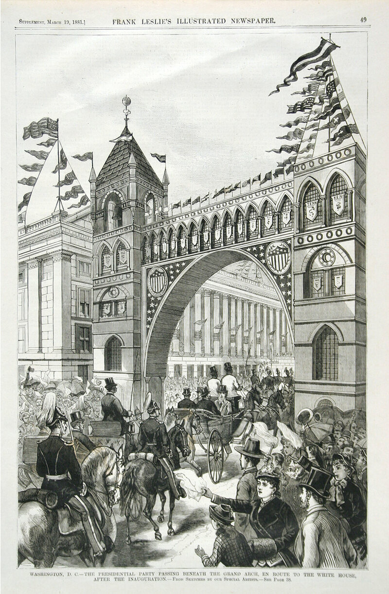<em>The Presidential Party Passing through the Grand Arch, en Route to the White House, after the Inauguration</em>, Frank Leslie's Illustrated Newspaper, March 19, 1881.
