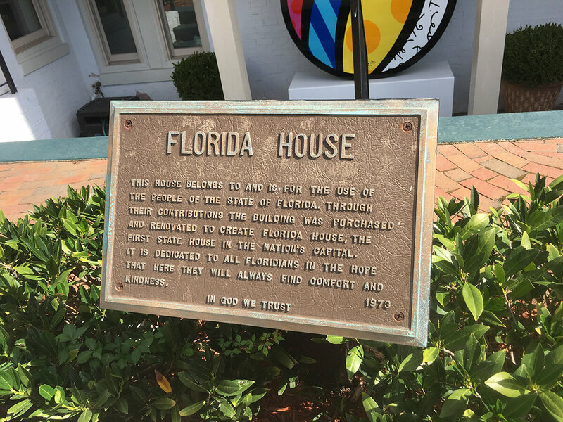 The plaque at Florida House.
