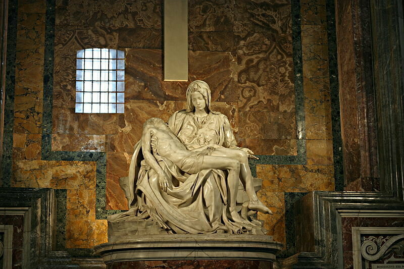 <em>Pieta</em>, one of Michelangelo's most celebrated works, is located in St. Peter's Basilica in Vatican City.