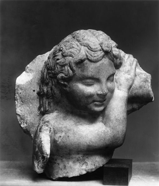 A legitimate Ancient Roman sleeping cupid sculpture. Michelangelo's cupid is thought to have been destroyed in the 1698 Whitehall Palace fire.