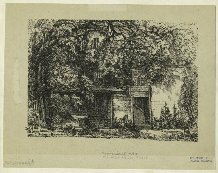 "An illustration of the ""Old Witch House,"" from 1876."