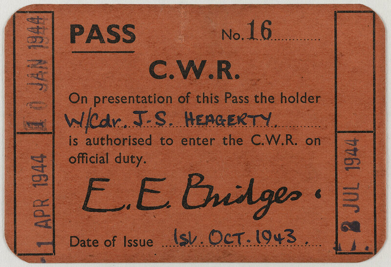 "Entrance pass belonging to Wing Commander J S Heagerty. ""Gaining access to the War Rooms meant running past a strict set of security checks. Staff were issued with passes like this one, which they were expected to show without fail to the guards as they passed."""