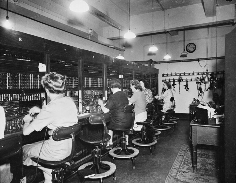 "The switchboard operators and typists ""were all civilian women. During the Blitz, many of them remained underground day and night, working here and sleeping between shifts in the sub-basement."""