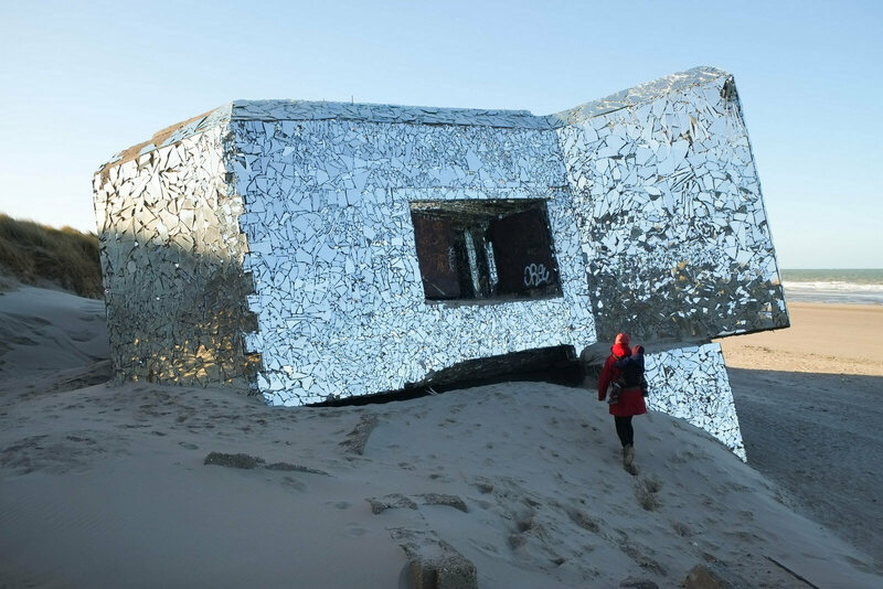 A Leffrinckoucke bunker, covered in mirrors.