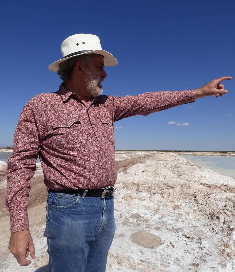 Benjamin Palacios at a salt mining operation, Zone of Silence.