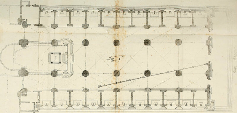 Giovanni Domenico Cassini's floorplan of San Petronio, showing the meridian line.